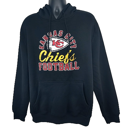 Majestic NFL Kansas City Chiefs Men's Black Pullover Hoodie Size M, L,  XLarge - Teammvpsports
