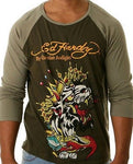 NEW Ed Hardy Men's Raglan Shirt - Army Color  Long Sleeve  KING PANTHER  Size XL - Teammvpsports