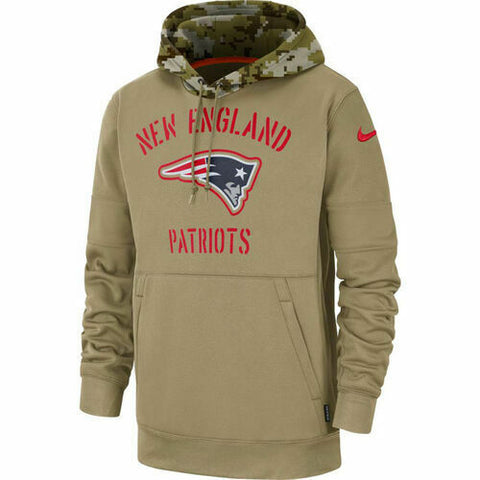 New England Patriots Nike Women's 2019 Salute to Service Therma Pullover Hoodie - Khaki Size S - Teammvpsports