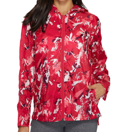 Puma T7 Women's Archive Logo All Over Print Red Hooded Windbreaker Packable Size XL - Teammvpsports