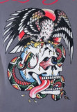 NEW Ed Hardy Men's Charcoal Short Sleeve Tee Shirt BATTLE RHINESTONES All Sizes - Teammvpsports