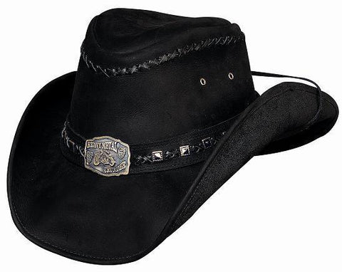 Bullhide Leather Hat With Concho and Strap - Thunderstruck - Black - Teammvpsports