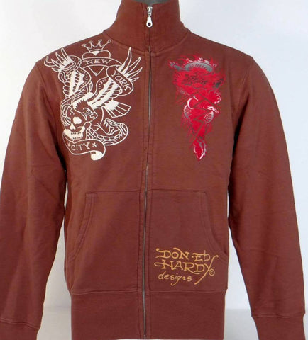NEW Ed Hardy Men's Brown Track Jacket - Eagle and New York City Size M - Teammvpsports
