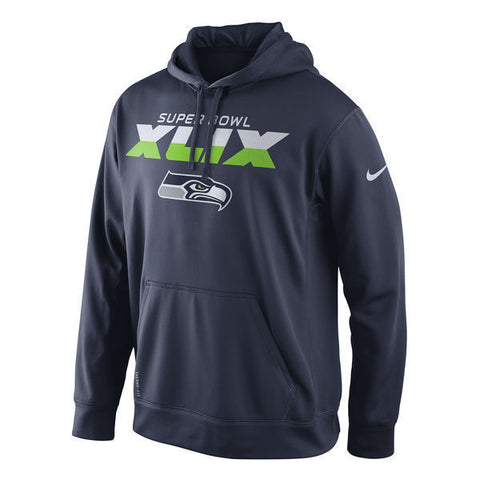 Seattle Seahawks Nike College Navy Super Bowl XLIX Bound Pullover Hoodie Size L - Teammvpsports