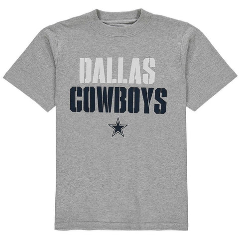 DALLAS COWBOYS Stencil Stack Men's Gray Short Sleeve T-Shirt Size L - Teammvpsports