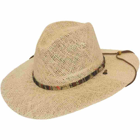 Stetson Twisted Jute Straw UV Protection Sun Hat Chin Strap - FLAT IRON - Size M - Teammvpsports