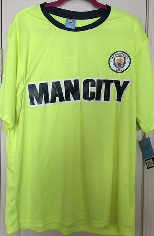 Manchester City Official Merchandise Neon Yellow Tee Shirt  Size L - Teammvpsports