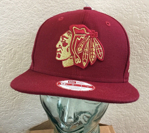Chicago Blackhawks New Era Cardinal Red 9FIFTY Cap Adjustable - Teammvpsports