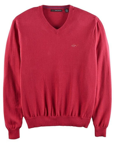 MEN'S GREG NORMAN V NECK PULLOVER SWEATER BURGUNDY RED SIZE M - L MRSP - $79.00 - Teammvpsports