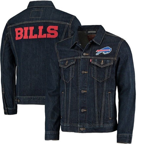 Levi Strauss Buffalo Bills Blue Denim Trucker Jacket Size L - Teammvpsports