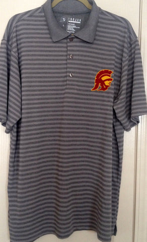 USC Trojans Striped Cool Gray Golf Polo Shirt Size L - Teammvpsports