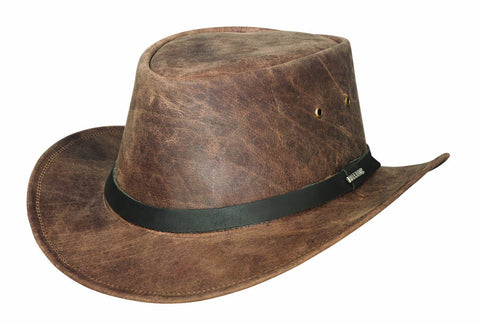 Bullhide PIKES PEAK Genuine Leather Chocolate Outdoor Hat Size S, M, L, XL - Teammvpsports