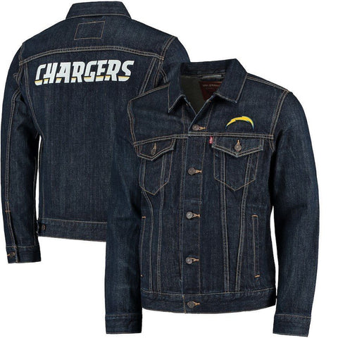 Levi Strauss Los Angeles Chargers Blue Denim Trucker Jacket Size L - Teammvpsports