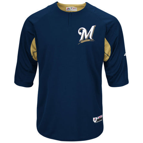 Majestic Milwaukee Brewers Navy/Gold Authentic Collection On-Field Jersey Sz 44 - Teammvpsports