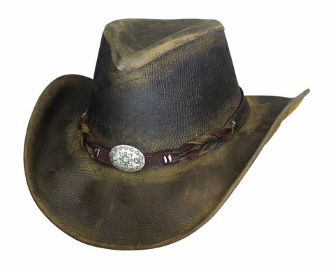 Bullhide OLD FAITHFUL Top Grain Leather Weathered Look Hat Olive S, M, L, XL - Teammvpsports