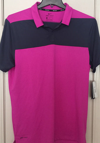 Nike Dri Fit Color Block OLC Black Magenta Golf Polo Shirt Size M - Teammvpsports