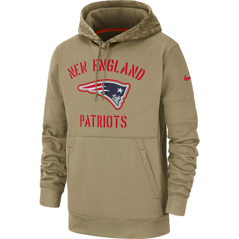 New England Patriots Nike Men's 2019 Salute to Service Therma Pullover Hoodie - Khaki - Teammvpsports