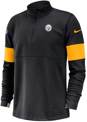 Nike Men's NFL Pittsburgh Steelers Pullovers Sideline Therma Dri-Fit Half Zip Pullover Black Large - Teammvpsports