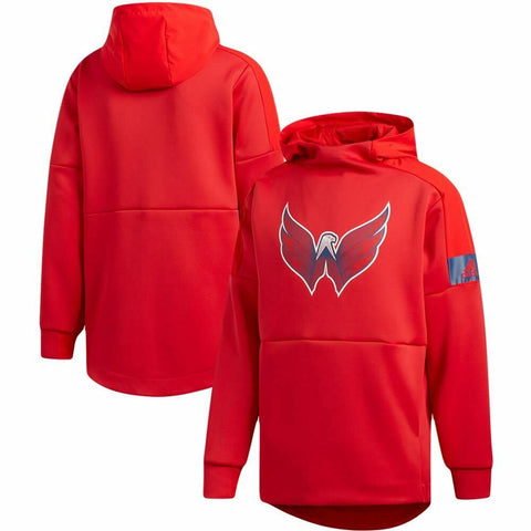 adidas Mens NHL Washington Capitals Game Mode Player Pack Pullover Hoodie Red