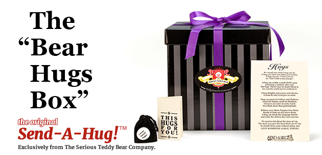 Send a teddy bear gift basket from Send-A-Hug and The Serious Teddy Bear Company!