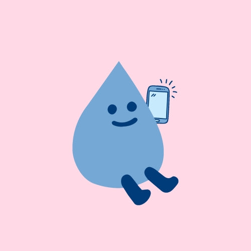 Walter the water drop with a mobile phone. Text to Join!