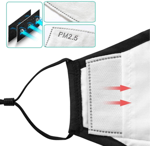 PM2.5 Activated Carbon Filter For Cloth Face Covering with Filter Pocket