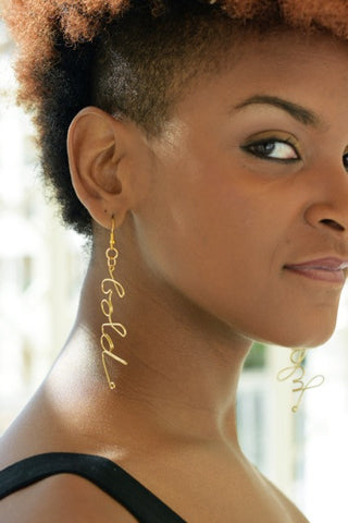 Wire Word Earrings