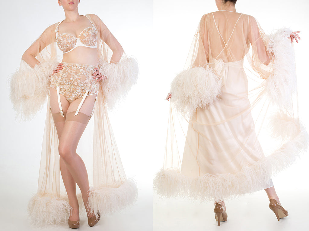 Ostrich feather robe and sheer lingerie in ivory