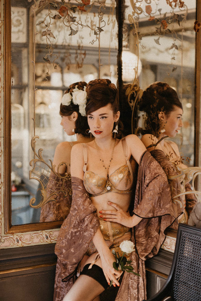 Alba Banana wears Juliette Hazel DD - G cup bra and gold lingerie with sheer robe in vintage style shoot