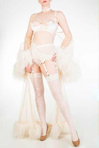Ivory open cup bra and lace stockings with sheer feather robe