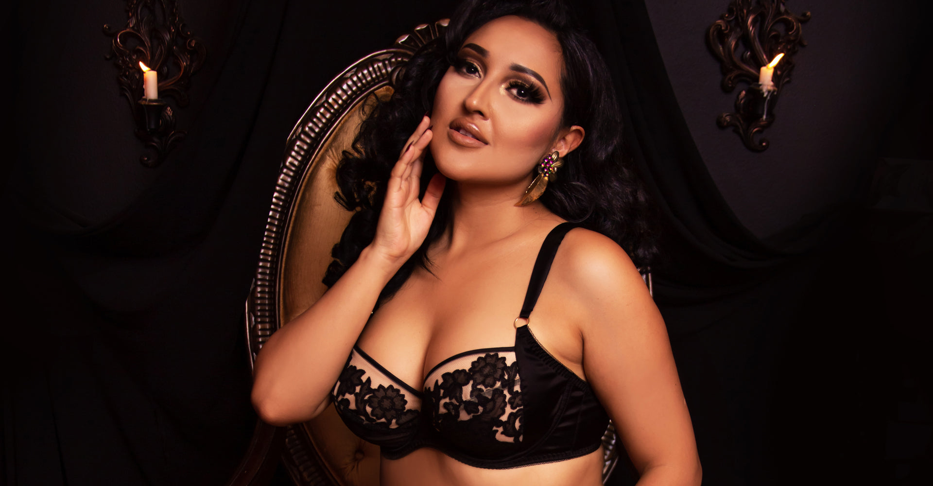 Sheer black lace and silk bra for 38DD sizes