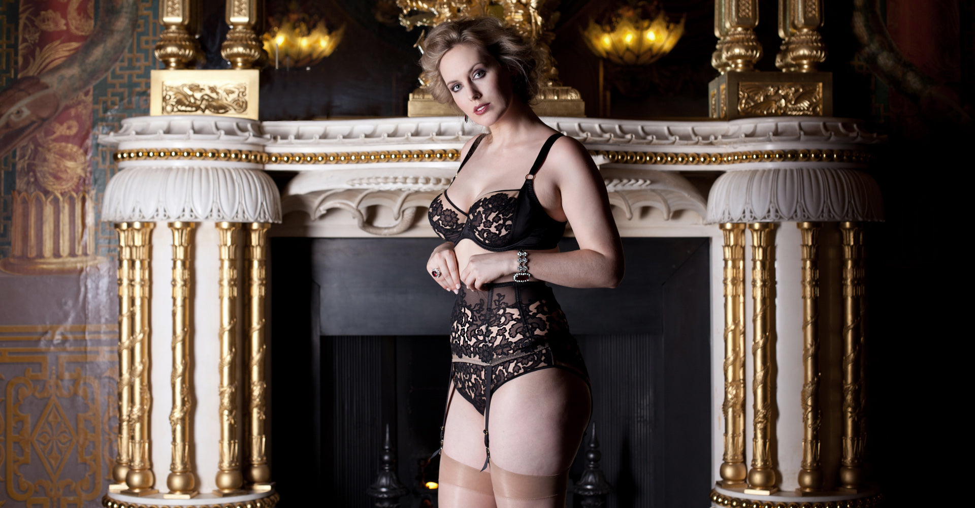 Luxury lingerie for DD-G cup bra sizes, in black embroidery and silk with vintage style garter belt