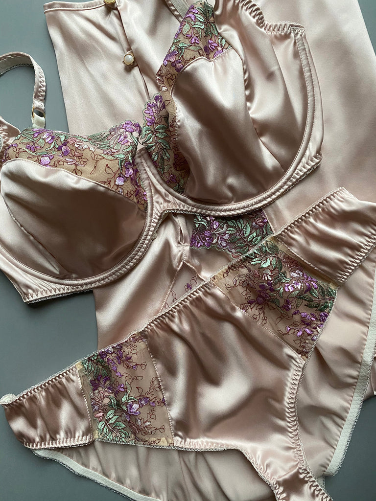 Pink silk and lace lingerie Wisteria by Angela Friedman