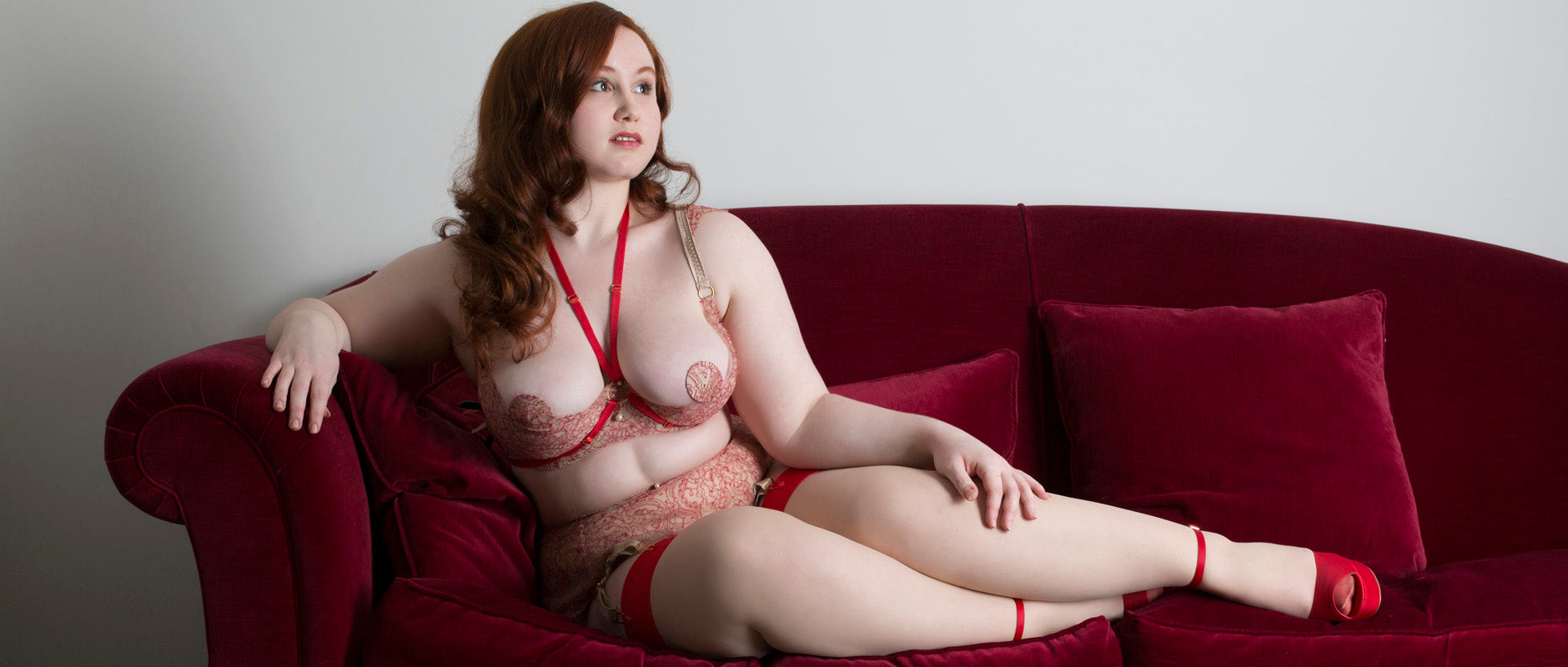 Aurora Red lace luxury boudoir lingerie