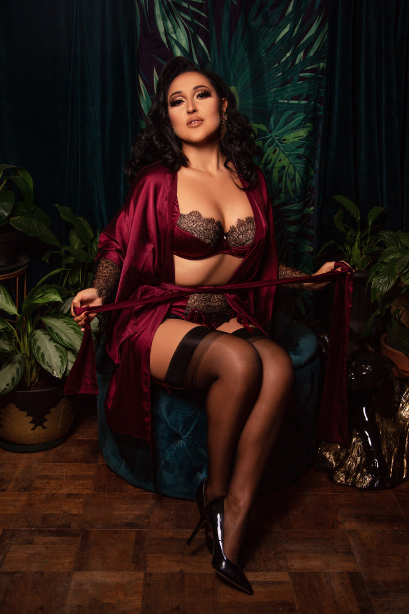 Silk and lace robe and DD+ lingerie in burgundy and black