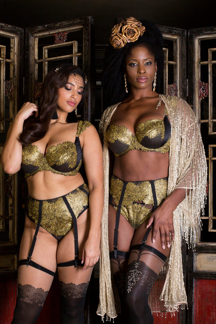 Black and gold luxury lingerie for Dd-G cup bra sizes