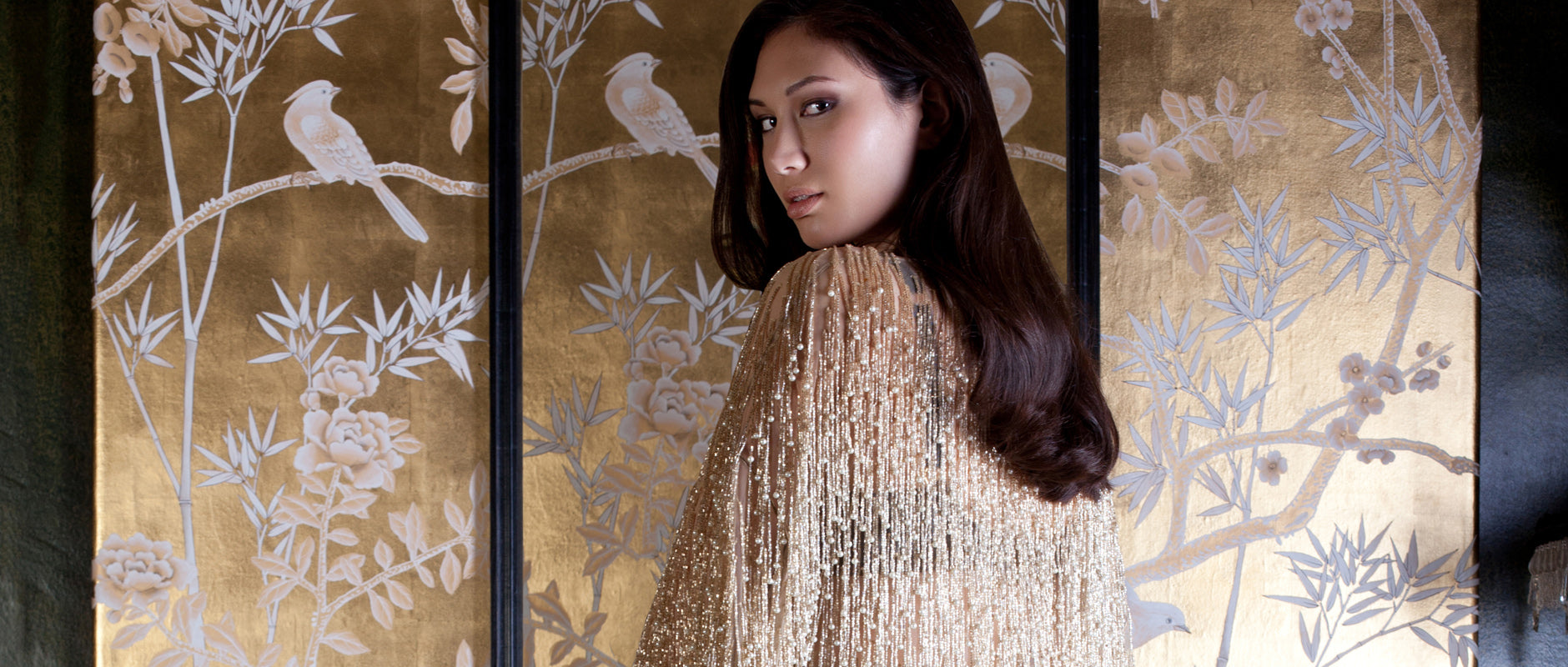 Cassiopeia luxury gold and pearl beaded robe