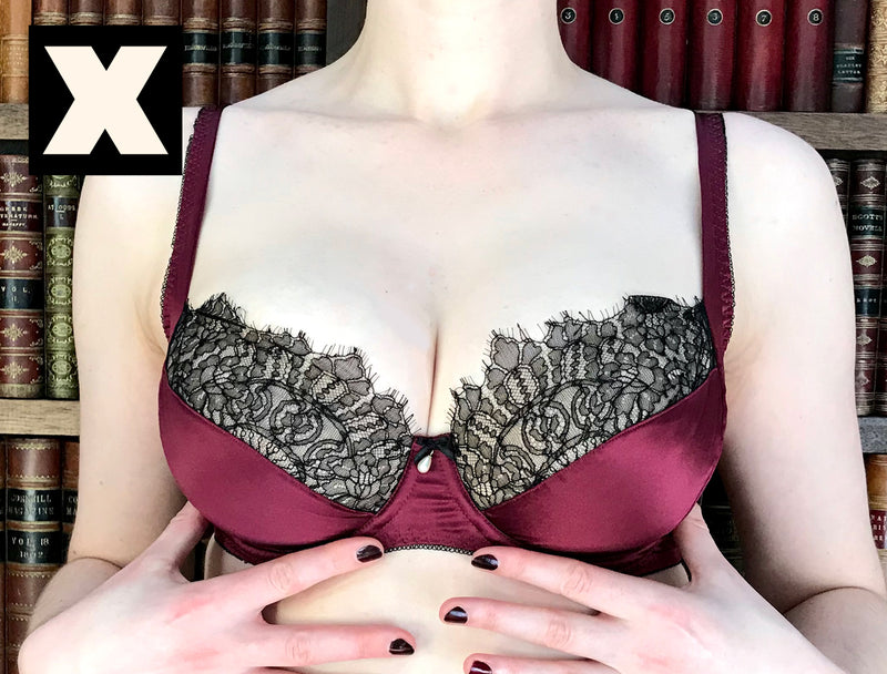 Luxury bra fitting incorrectly on DD - G cup size, with underwires too small