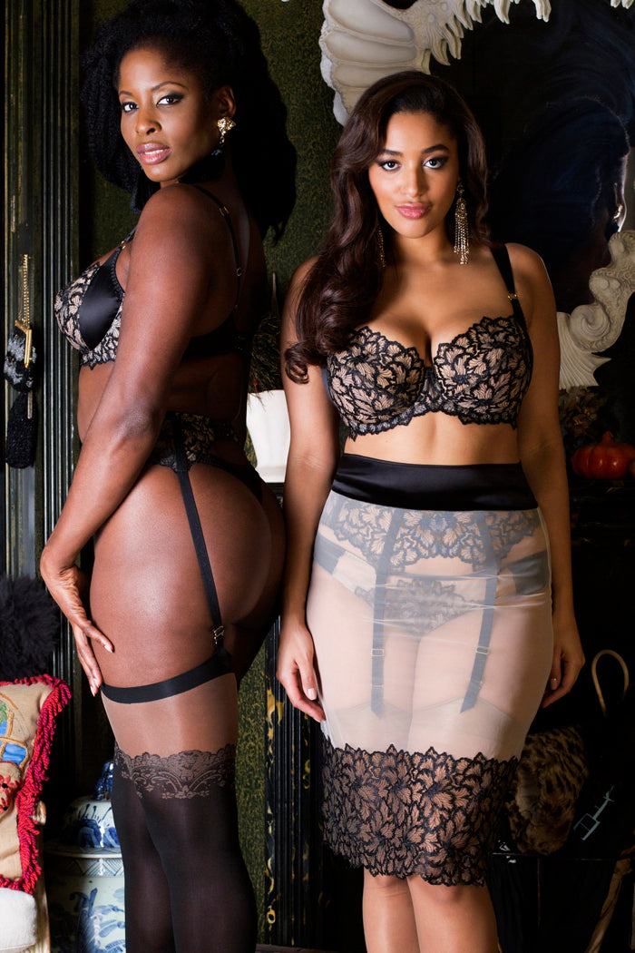 Black sheer lace lingerie for DD- G cup bra sizes