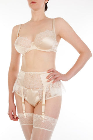 Cream silk and ivory lace vintage style lingerie set with garter belt