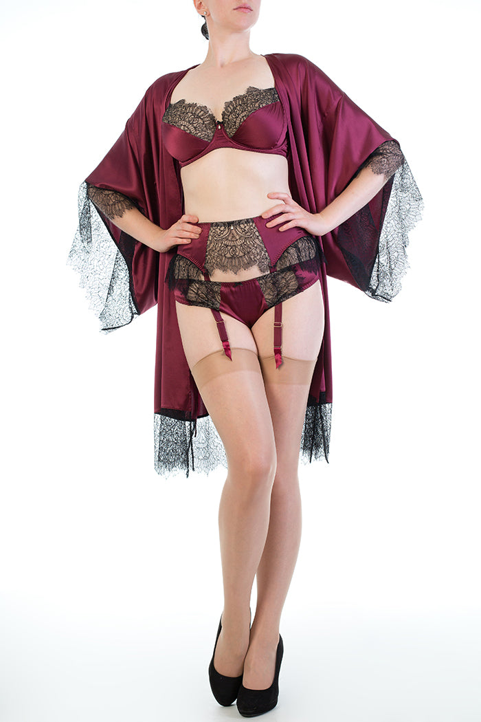 Vintage style burgundy silk lingerie with black lace and silk dressing gown