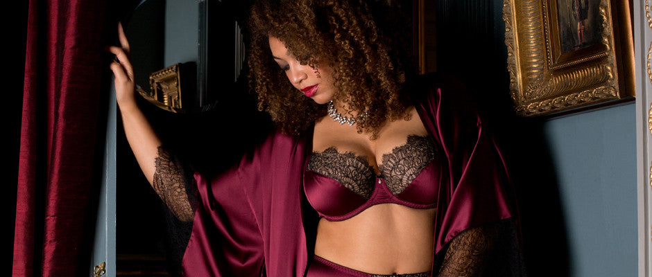 Eleanor Damson luxury burgundy silk and black lace lingerie for DD+ sizes