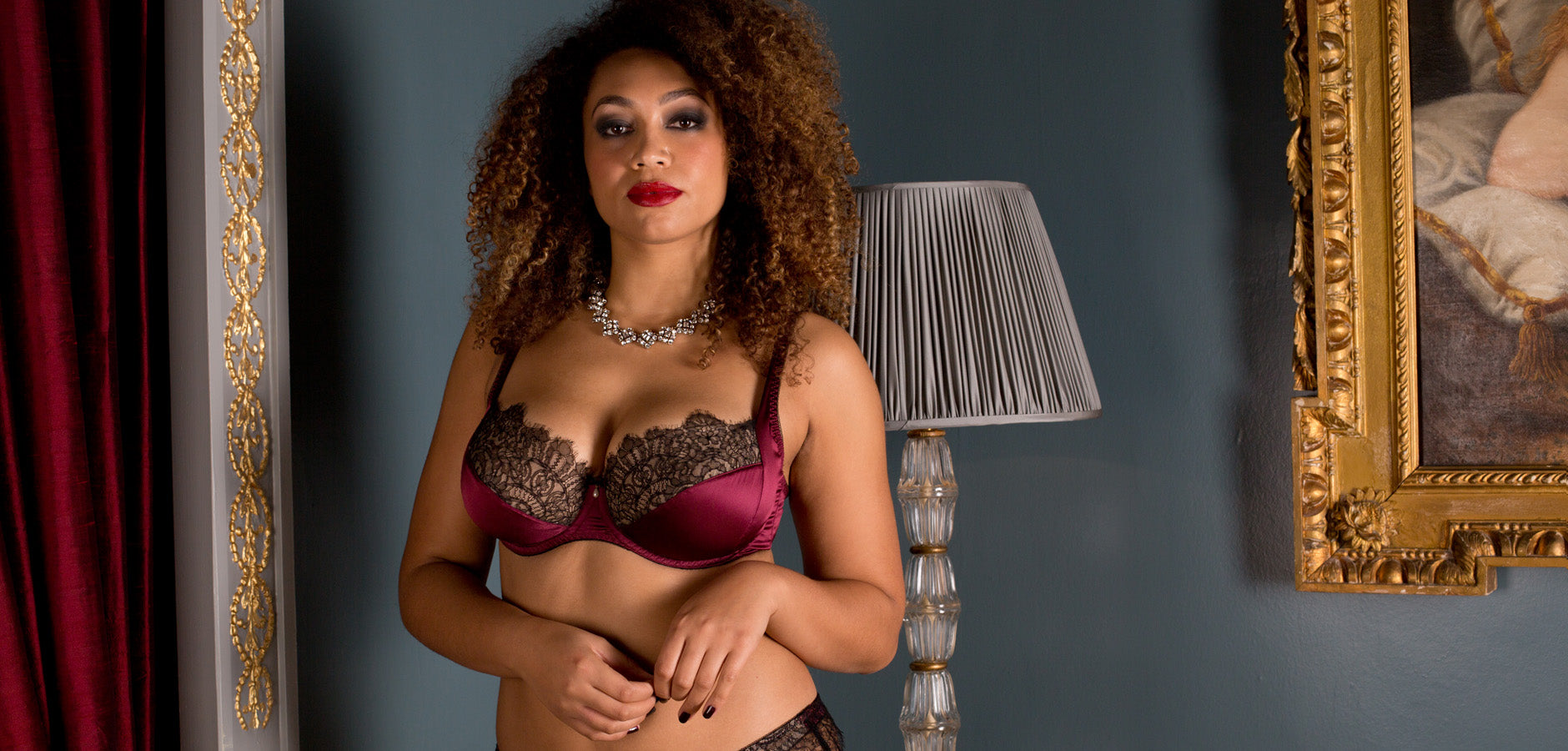 36G luxury bra in burgundy silk and black lace, by Harlow & Fox