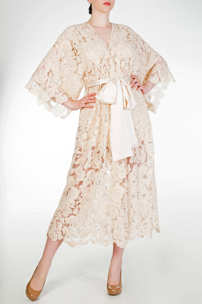 Luxury bridal dressing gown in beaded lace