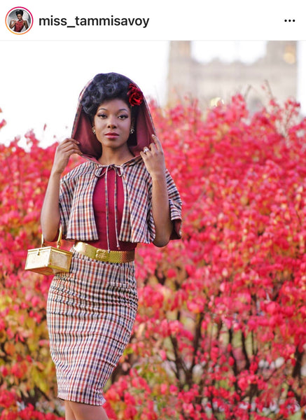 Miss Tammi Savoy in retro style houndstooth cape and skirt
