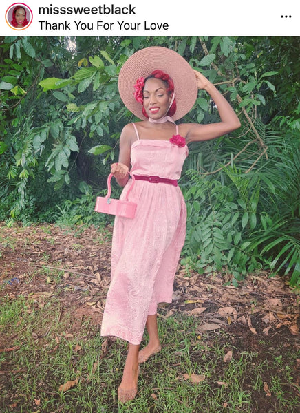 Misssweetblack in vintage pink sundress with hat
