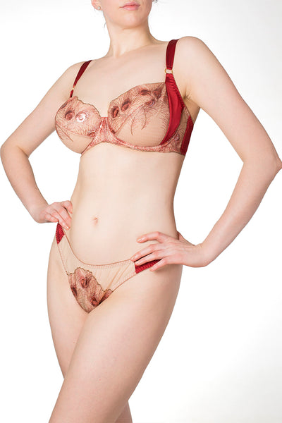 Juliette red and gold metallic bra and thong