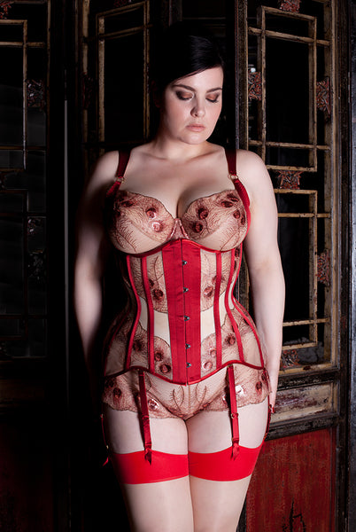 Juliette red and gold peacock underbust corset