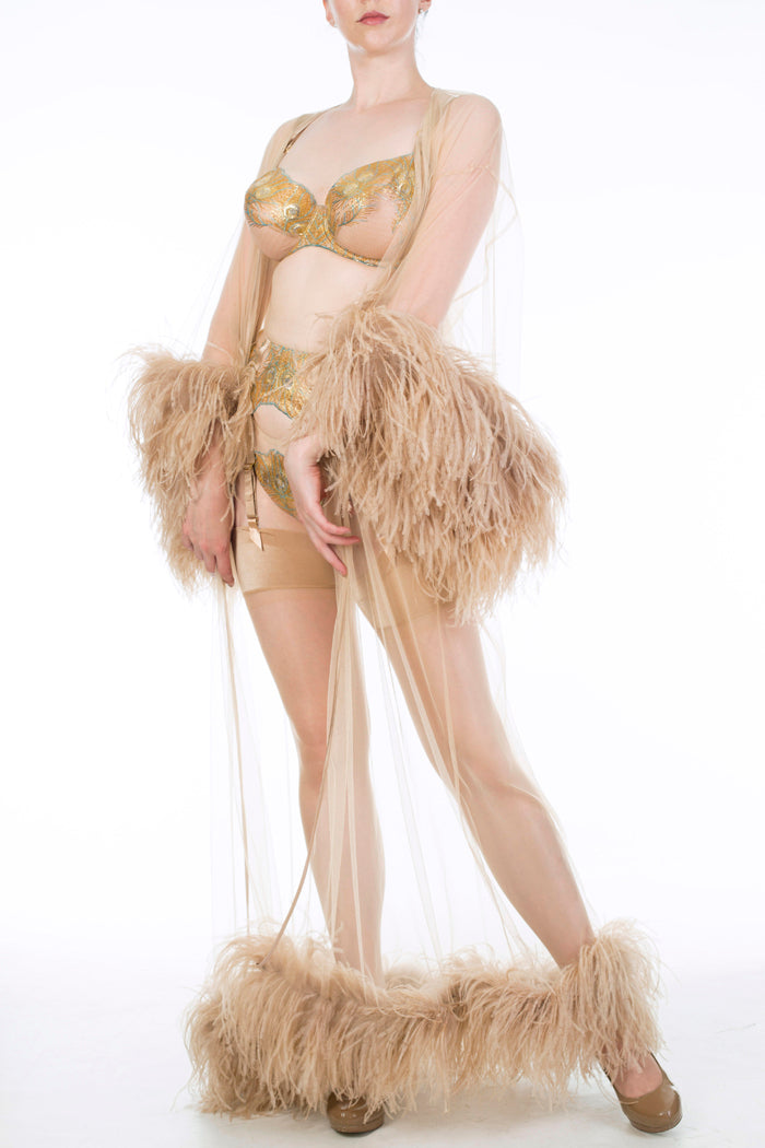 Gold luxury DD-G cup lingerie and sheer feather robe