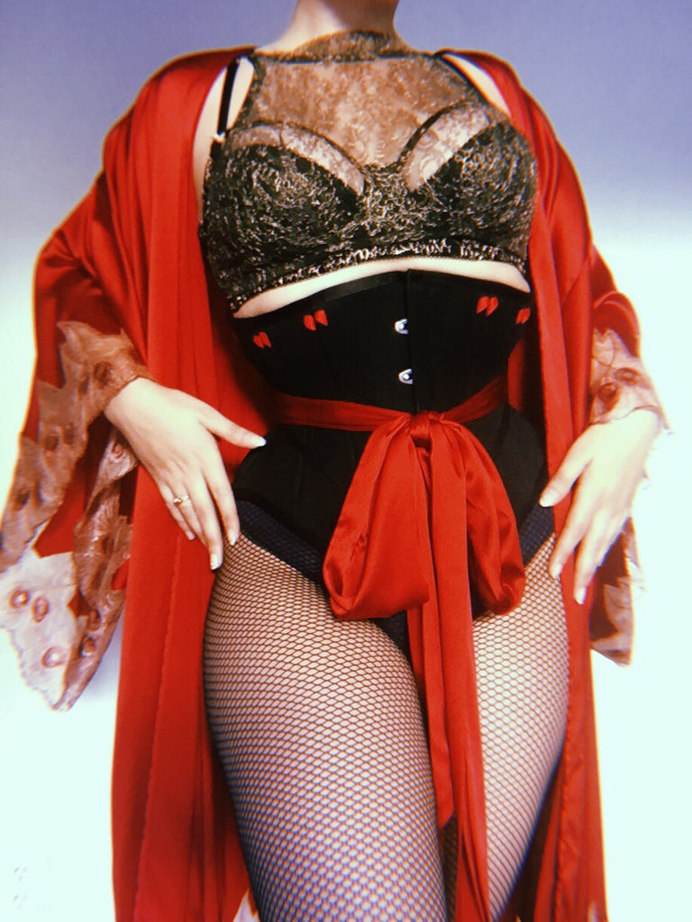 Juliette Red silk robe with black corset and gold lace lingerie